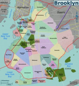 "Les quartiers de Brooklyn avec un flèche vers ""Nous"""
